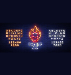 Boxing club logo in neon style vector
