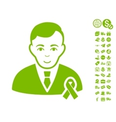 Gentleman With Mourning Ribbon Icon With Free vector image