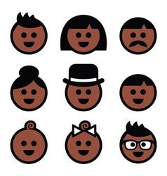 Human brown dark skin color icons set vector image vector image