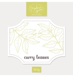Product sticker with hand drawn curry leaves vector image
