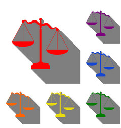 scales of justice sign set of red orange yellow vector image vector image