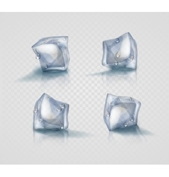 Set of four transparent ice cubes in light blue vector image