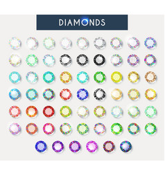 Big set 60 realistic colorful crystals light vector image vector image