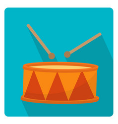 drum a musical instrument icon flat style with vector image