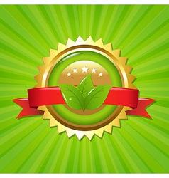 Eco Label With Sunburst vector image
