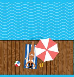 girl in bikini elegant on deckchair relax vector image vector image