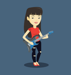 woman playing electric guitar vector image vector image
