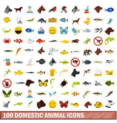 100 domestic animal icons set flat style vector image