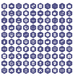 100 e-learning icons hexagon purple vector