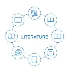 8 literature icons vector