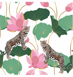 a leopard animal and lotus flowers vector image