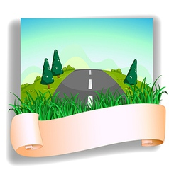 A road at the back of the signage vector
