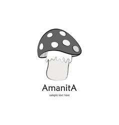 Amanita gray background vector image