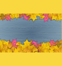 Autumn leaves on wooden vector