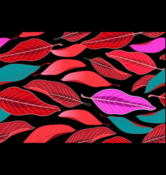 autumn seamless pattern with red leaves vector image