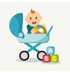 Baby boy cartoon of baby shower concept vector image