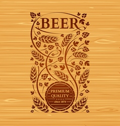 beer emblem with hops and malt vector image