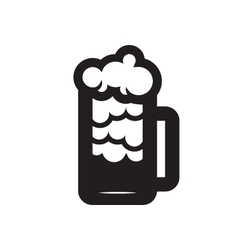 Beer Glass Black Silhouette vector image