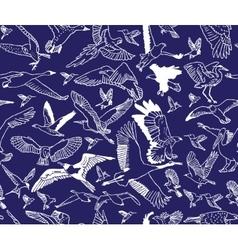 Birds night blue seamless pattern wallpaper vector image vector image