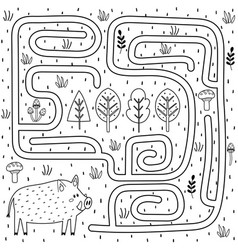 Black and white maze game for kids help boar vector