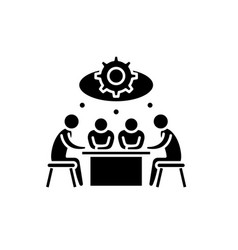brainstorming black icon sign on isolated vector image
