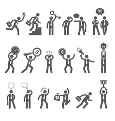 business figures simple stick characters vector image