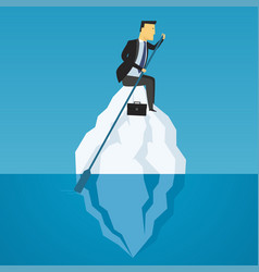 businessman floats on iceberg business challenge vector image