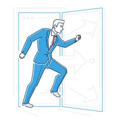 Businessman rushing through the door - line design vector