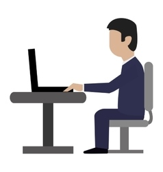 Businessman sitting on desk icon vector