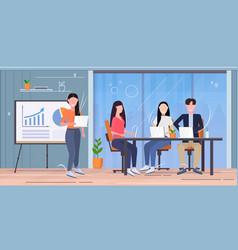 Businesswoman making financial presentation vector