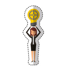 Businesswoman with gear avatar character icon vector