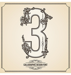 Calligraphic font number 3 vector