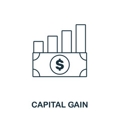 Capital gain icon outline style thin line vector