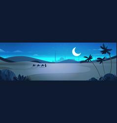Caravan camels going through night desert eid vector
