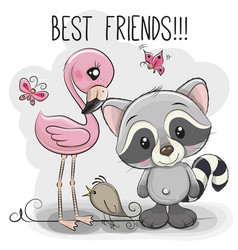 cartoon raccoon and flamingo on a pink background vector image