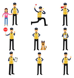cartoon set of road policeman in different vector image