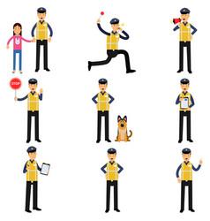 Cartoon set of road policeman in different vector
