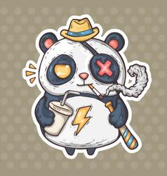 cartoon smoking panda vector image