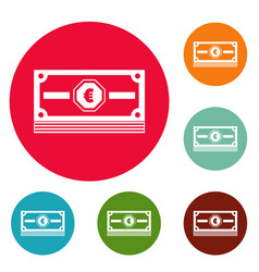 cash money icons circle set vector image