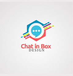 Chat in box logo icon element and template for vector