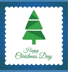 christmas card with tree and blue background vector image