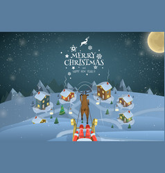 christmas evening landscape vector image