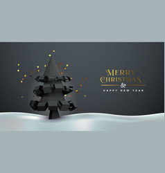 christmas new year 3d low poly pine tree card vector image