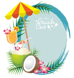 Coconut and Cocktail Frame vector image