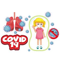 coronavirus poster design with sick girl wearing vector image