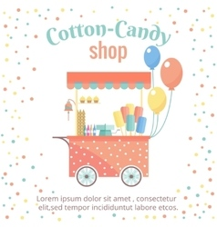 Cotton candy and ice cream street shopping cart vector