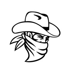 cowboy bandit or outlaw wearing face mask side vector image