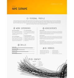 Creative simple cv template with black lines in vector