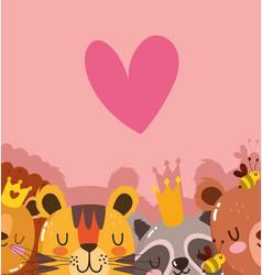 cute cartoon animals adorable wild character vector image