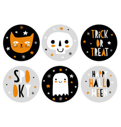 cute hand drawn halloween candy bar tags vector image